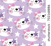 seamless purple white cat... | Shutterstock .eps vector #702168886