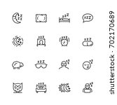 sleep related vector icon set... | Shutterstock .eps vector #702170689