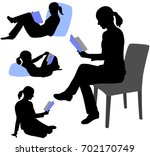 woman reading book silhouettes  ... | Shutterstock .eps vector #702170749