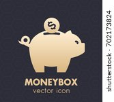 moneybox and coin icon, vector illustration
