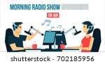 radio dj s male   female life... | Shutterstock .eps vector #702185956