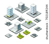 set of isometric city landscape ... | Shutterstock .eps vector #702189244