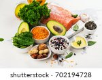 low cholesterol food. healthy... | Shutterstock . vector #702194728