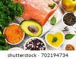 low cholesterol food. healthy... | Shutterstock . vector #702194734