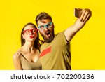 crazy selfie. beautiful friends ... | Shutterstock . vector #702200236