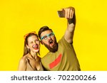 Funny Couple Making Selfie On...