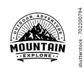 mountain retro logo template ... | Shutterstock .eps vector #702200794