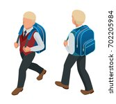isometric boy back to school...   Shutterstock .eps vector #702205984
