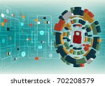 cyber security concept vector... | Shutterstock .eps vector #702208579