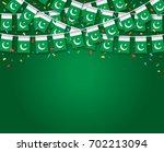 garland flags with dark green... | Shutterstock .eps vector #702213094