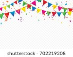 colorful party flags with... | Shutterstock .eps vector #702219208
