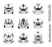 imperial crowns emblems set.... | Shutterstock . vector #702220150