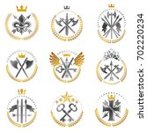 vintage weapon emblems set.... | Shutterstock . vector #702220234