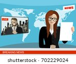 news anchor broadcasting the... | Shutterstock .eps vector #702229024