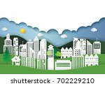 eco green cityscape.let's save... | Shutterstock .eps vector #702229210