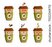 emoji cup of coffee vector set. ... | Shutterstock .eps vector #702234970