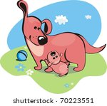 Mama dog and the baby-puppy - stock vector
