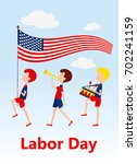 children marching with the us... | Shutterstock .eps vector #702241159