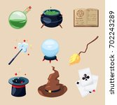 different symbols of wizards... | Shutterstock .eps vector #702243289