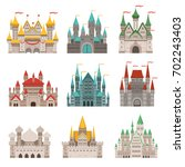 medieval old castles and... | Shutterstock .eps vector #702243403