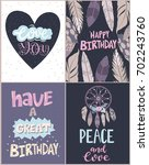 set of birthday card in... | Shutterstock .eps vector #702243760