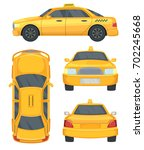 different views of taxi yellow...   Shutterstock .eps vector #702245668