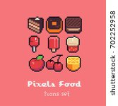 food icons  pixel art style... | Shutterstock .eps vector #702252958