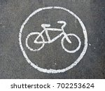 Sign Bicycle Path  Painted Wit...