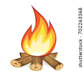 burning bonfire with wood ... | Shutterstock .eps vector #702263368