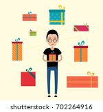 the guy with the gift in his... | Shutterstock .eps vector #702264916