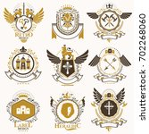 collection of heraldic... | Shutterstock . vector #702268060