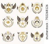 heraldic decorative emblems... | Shutterstock . vector #702268126