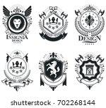 heraldic coat of arms... | Shutterstock . vector #702268144