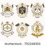 heraldic coat of arms created... | Shutterstock . vector #702268303