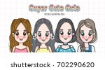 cute girl doodles | Shutterstock .eps vector #702290620