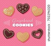gingerbread heart shaped... | Shutterstock .eps vector #702296320