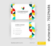 business card template with... | Shutterstock .eps vector #702296686