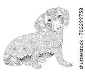 Zentangle Stylized Dog. Hand...