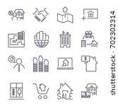 web icon set  real estate ... | Shutterstock .eps vector #702302314