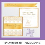 luxury wedding invitation... | Shutterstock .eps vector #702306448