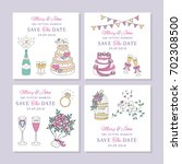 vector set of wedding save the... | Shutterstock .eps vector #702308500
