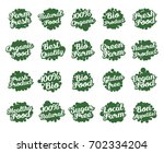 set of green labels for food ... | Shutterstock .eps vector #702334204