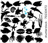 Stock vector silhouettes vector of fish sea life marine life seafood a set of cute icon collection isolated 70233472
