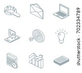 office isometric icons set | Shutterstock .eps vector #702334789