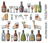 set of alcoholic symbols....   Shutterstock .eps vector #702367489