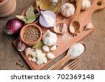 garlic  onion  bay leaf and...   Shutterstock . vector #702369148
