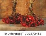 viburnum berries on the wooden... | Shutterstock . vector #702373468
