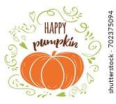 happy pumpkin banner  autumn... | Shutterstock .eps vector #702375094