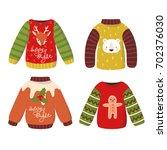 set of four cute winter... | Shutterstock .eps vector #702376030