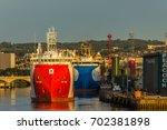 aberdeen harbour  scotland ... | Shutterstock . vector #702381898